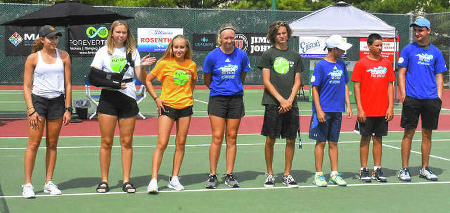 The Edwardsville Futures tournament concluded Sunday with the singles championship at the EHS Tennis Center. Pictured are scenes from the doubles final on Saturday and singles final on Sunday. Photo: Matt Kamp|The Intelligencer