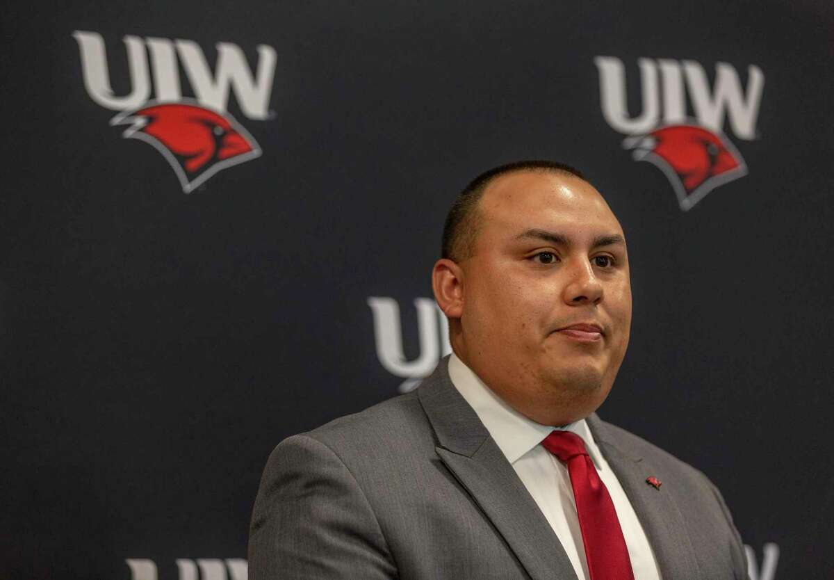 University of the Incarnate Word Athletic Director Richard Duran speaks during the school's 2019 football media day.