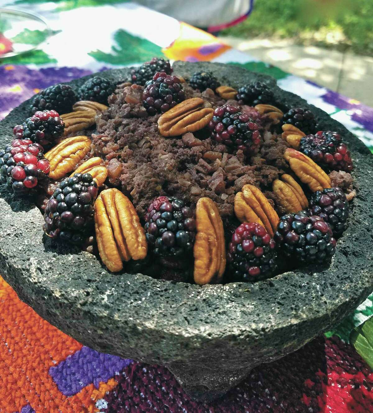 """Adan Medrano's new book, """"Don't Count the Tortillas: The Art of Texas Mexican Cooking,"""" features a recipe by San Antonian Gloria Camarillo Vasquez for a dish featuring bison and blackberries."""