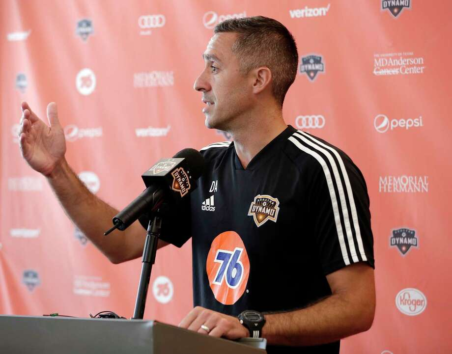 Davy Arnaud answers questions during a press conference at the team's practice facility announcing Arnaud as the interim Dynamo head coach, replacing Wilmer Cabrerra, for the remaining nine games of their season Wednesday, Aug. 14, 2019 in Houston, TX. Photo: Michael Wyke / Contributor / © 2019 Houston Chronicle
