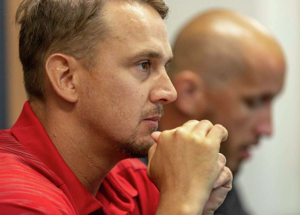 University of the Incarnate Word football coach Eric Morris listens to a question Wednesday, Aug. 14, 2019 during media day.