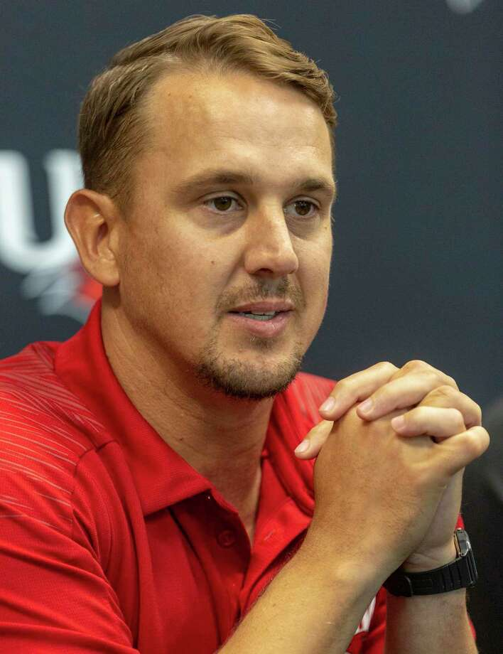 University of the Incarnate Word football coach Eric Morris answers questions Wednesday, Aug. 14, 2019 during media day. Photo: William Luther, Staff / Staff Photographer / ©2019 San Antonio Express-News