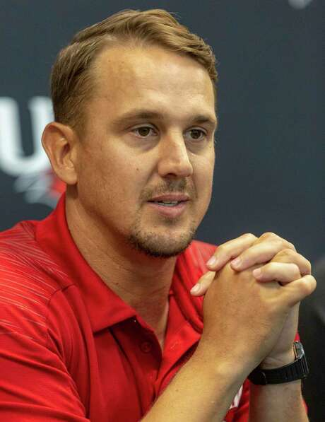 University of the Incarnate Word football coach Eric Morris answers questions Wednesday, Aug. 14, 2019 during media day.