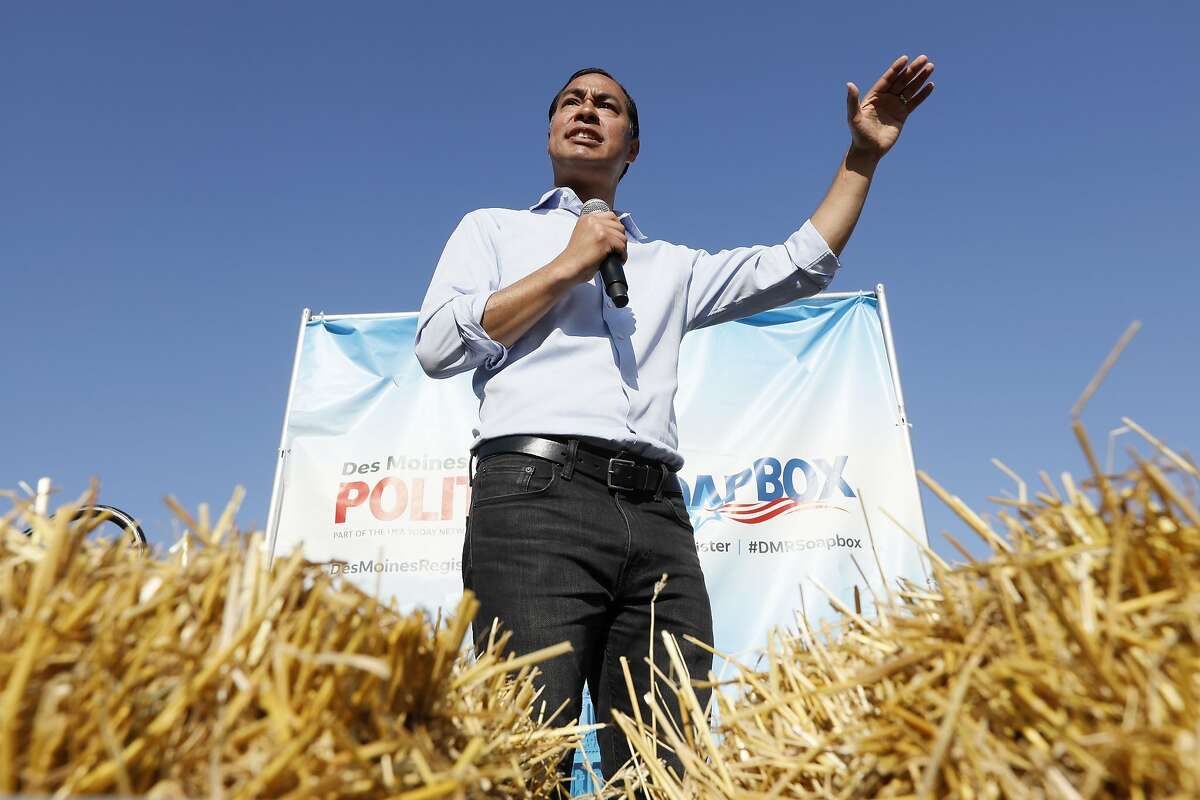 Democratic presidential candidate former U.S. Secretary of Housing and Urban Development Julian Castro speaks at the Des Moines Register Soapbox during a visit to the Iowa State Fair, Friday, Aug. 9, 2019, in Des Moines, Iowa. (AP Photo/Charlie Neibergall)