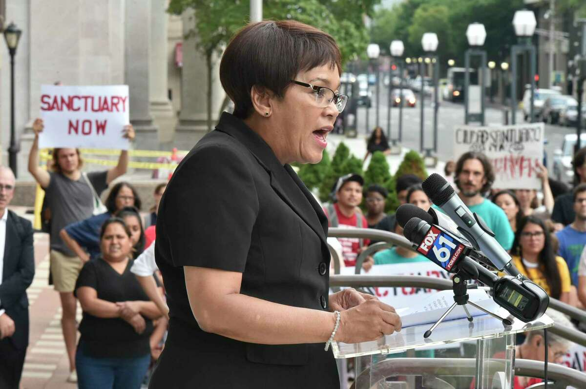 New Haven, Connecticut - Wednesday, August 14, 2019: A rally by Unidad Latina en Accion Wednesday evening at City Hall to start a campaign to push the New Haven Board of Alders to codify a New Haven Sanctuary City Ordinance. Mayor Toni N. Harp also attended the event to detail her Executive order spelling out city policy regarding undocumented immigrants.