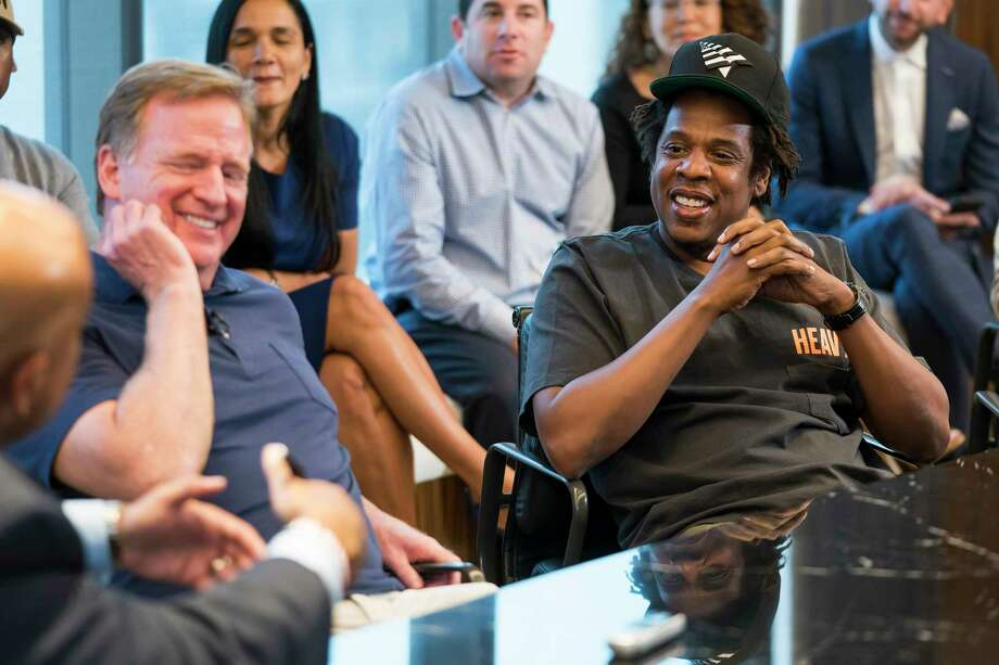 Commissioner of the NFL Roger Goodell and Jay-Z attend a press conference at ROC Nation on Wednesday, Aug. 14, 2019 in New York. (Ben Hider/AP Images for NFL) Photo: Ben Hider / Copyright 2019 The Associated Press. All rights reserved.