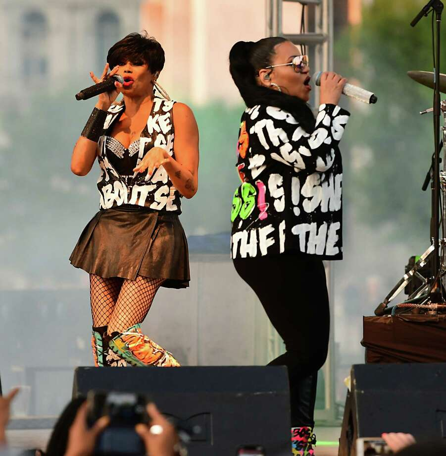 Salt-N-Pepa performs during the Capital Concert Series at the Empire State Plaza on Wednesday, Aug. 14, 2019 in Albany, N.Y. (Lori Van Buren/Times Union) Photo: Lori Van Buren, Albany Times Union / 40047620A