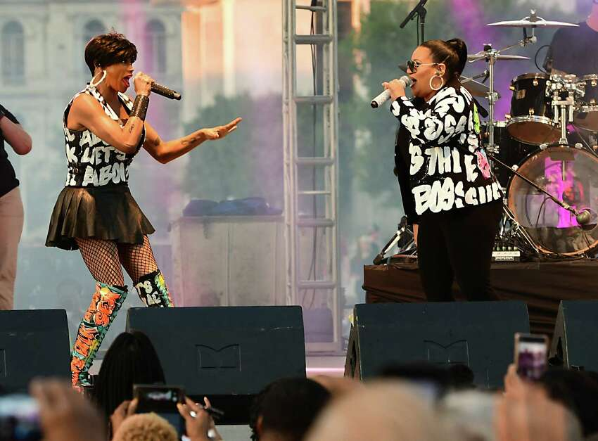 Salt-N-Pepa performs during the Capital Concert Series at the Empire State Plaza on Wednesday, Aug. 14, 2019 in Albany, N.Y. (Lori Van Buren/Times Union)