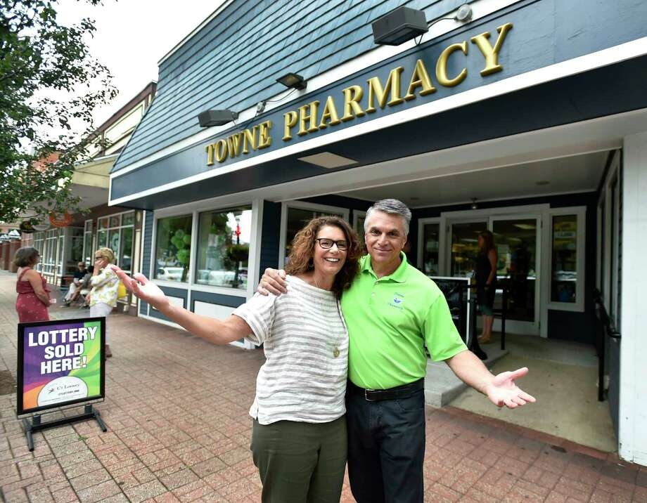 "Branford, Connecticut - Wednesday, August 14, 2019: Owned by Karen W. Ragonese, left,  and founded by her father William Ward, Towne Pharmacy of Branford, with her husband Vincent Ragonese before her business closed for good Wednesday after 54 years of serving the residents in the greater Branford area. The Towne Pharmacy Durable Medical Equipment business, owned by Vincent Ragonese, will be housed in the same location under the same management but with the new name ""Down-Towne Medical Equipment"". All current files and prescription records will be transferred to CVS Pharmacy on Short Beach Road in Branford. The pharmacy employed 14 people. Photo: Peter Hvizdak, Hearst Connecticut Media / New Haven Register"