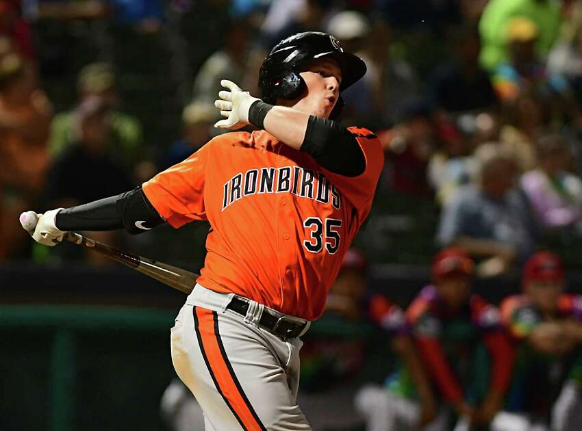 Aberdeen IronBirds catcher Adley Rutschman swings at a pitch during a baseball game against the Tri-City ValleyCats at Joe Bruno Stadium on Wednesday, Aug. 14, 2019 in Troy, N.Y. (Lori Van Buren/Times Union)
