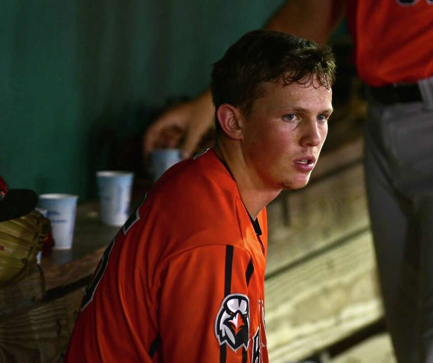 Aberdeen IronBirds catcher Adley Rutschman is seen in the dugout during a baseball game against the Tri-City ValleyCats at Joe Bruno Stadium on Wednesday, Aug. 14, 2019 in Troy, N.Y. (Lori Van Buren/Times Union)