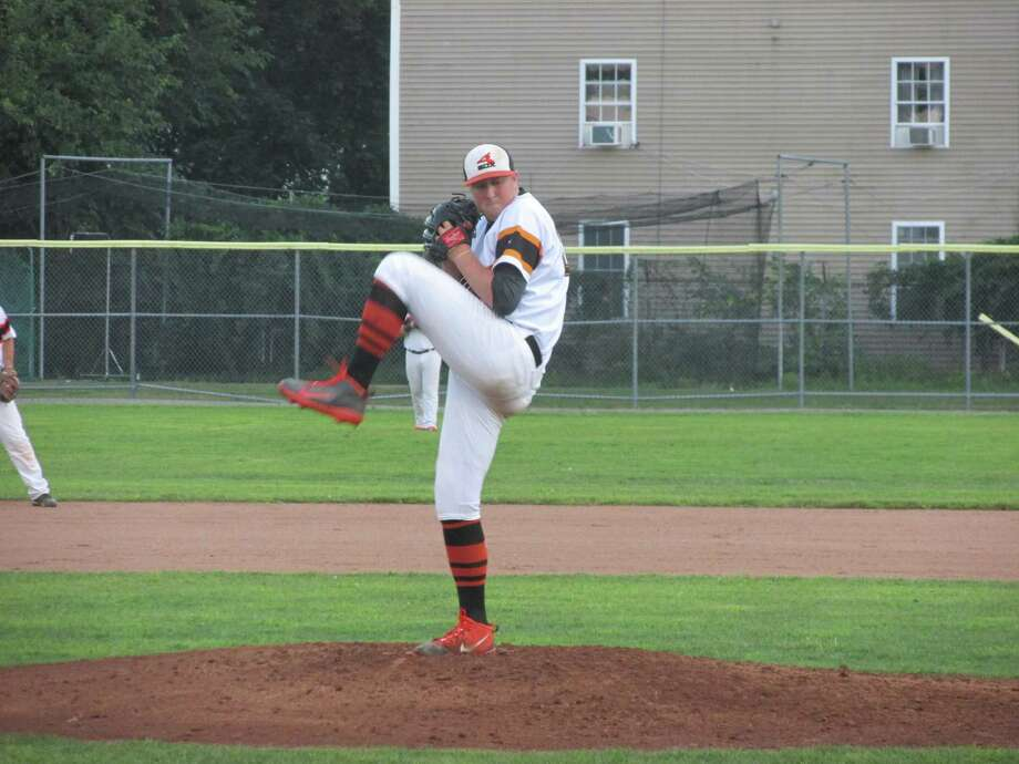 Terryville Black Sox winning pitcher Jake Kawicki didn't let a bad early inning bother him on the way to a Tri-State Baseball League tournament semifinal win over the Litchfield Cowboys Wednesday night at Fuessenich Park. Photo: Peter Wallace / For Hearst Connecticut Media