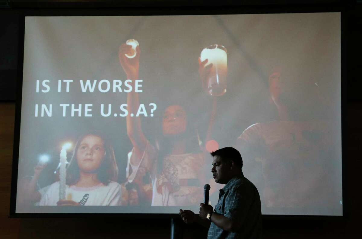 District 8 Councilman Manny Pelaez led discussions about gun violence during the town hall meeting in San Antonio on Aug. 14, 2019.