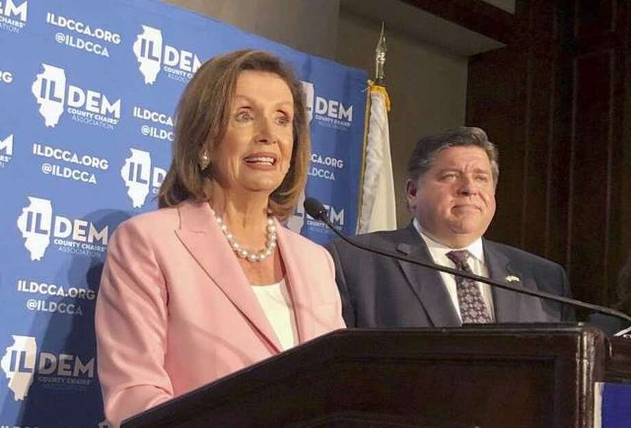 U.S. House Speaker Nancy Pelosi answers reporters' questions after keynoting the Illinois Democratic County Chairs' Association brunch Wednesday, Aug. 14, 2019 at the Illinois State Fair in Springfield, Ill. The California Democrat exhorted about 2,200 Democrats at the event to defeat Republican President Donald Trump and give Democrats a U.S. Senate majority in 2020. Photo: John O'Connor, AP / Copyright 2019 The Associated Press. All rights reserved Photo: John O'Connor, AP