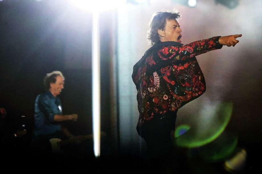 The Rolling Stones, including Mick Jagger, Keith Richards, Ronnie Wood and Charlie Watts, perform in Seattle at CenturyLink Field on their No Filter tour for the first time since 2006, Aug. 14, 2019. The tour was postponed after 76-year-old frontman Mick Jagger underwent an emergency heart valve replacement. Photo: Genna Martin, Seattlepi.com / GENNA MARTIN