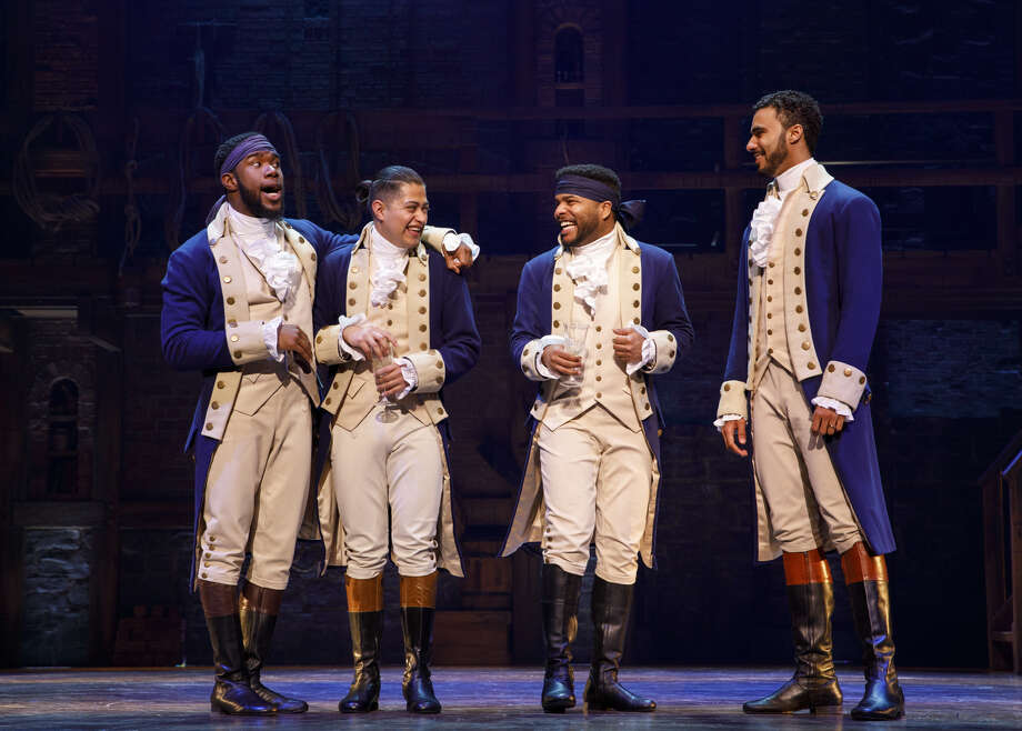 "Chaundre Hall Broomfield, Ruben J. Carbajal, Bryson Bruce and Auston Scott in the ""Hamilton"" National Tour. (Joan Marcus) Photo: Joan Marcus"