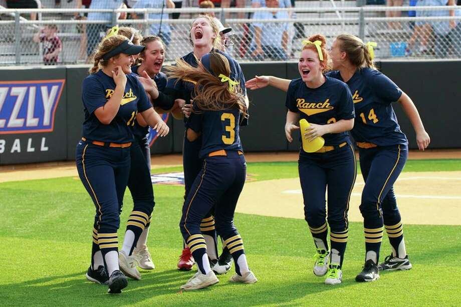 The Cypress Ranch Mustangs celebrate defeating Oak Ridge, 2-1, in 10 innings of a Region II-6A quarterfinal playoff matchup on May 10 at Grand Oaks High School. Photo: CFISD / 2000-2019