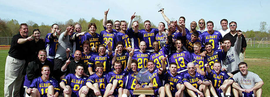 The UAlbany 2003 men's championship lacrosse team. (Courtesy UAlbany Athletics)