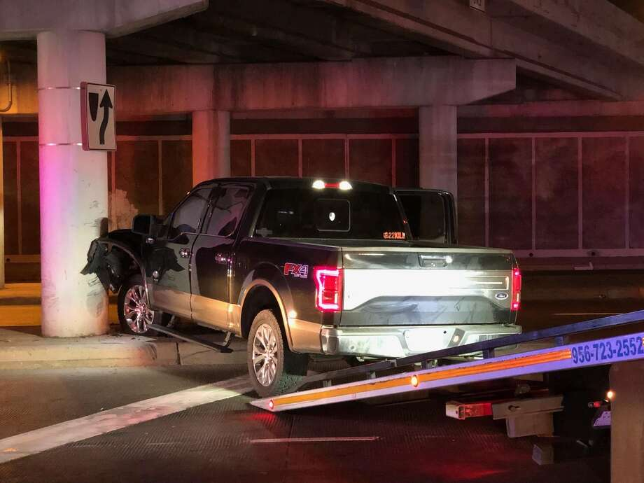 The Webb County Sheriff's Office said this Ford pickup led deputies on chase on Tuesday night. The vehicle pursuit ended when the driver crashed by San Bernardo Avenue and Mann Road. Photo: Courtesy