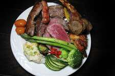 Grilled meats from Brasão Brazilian Steakhouse include pork rib, beef rib, pork sausage, sirloin with garlic, top sirloin called picanha, filet mignon, lamb chops and chicken.