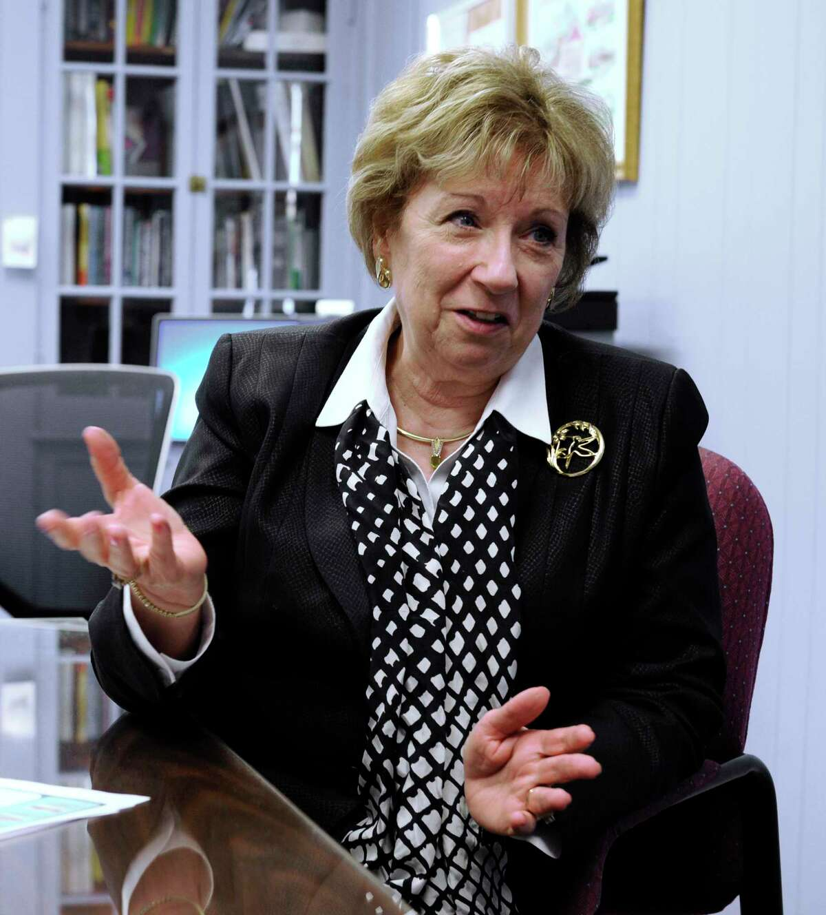 New Milford Superintendent of Schools, JeanAnn Paddyfote retires January 31 after decades with the school district. Paddyfote talks about her career in her office, Thursday, January 28, 2016.