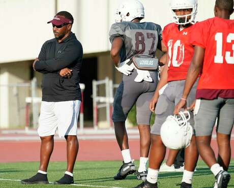 Clarence McKinney, Texas Southern University head football coach, is shown during practice Tuesday, Aug. 13, 2019, in Houston.