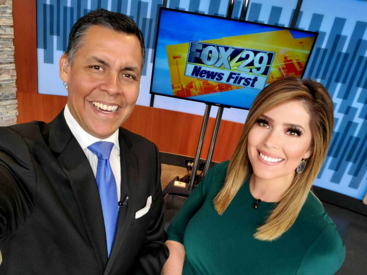 Breanna on her first day back anchoring next to Ernie Zuniga after her surgery