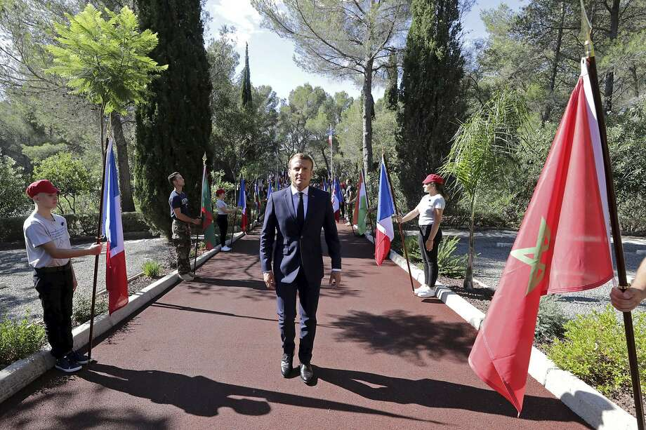 President Emmanuel Macron attends a ceremony marking the 75th anniversary of the Allied landings in Provence, in Saint-Raphael. About 350,000 troops landed on the French Riviera. Photo: Eric Gaillard / Associated Press