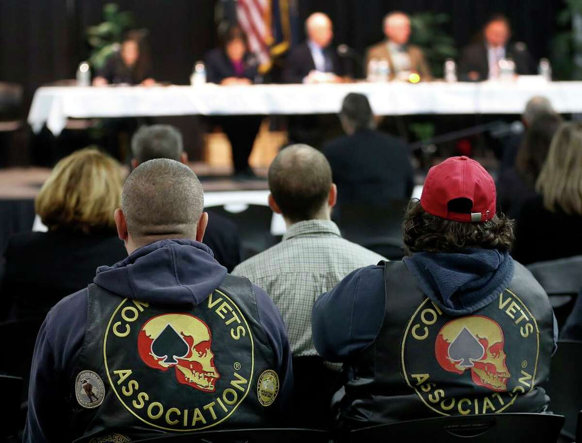 Veterans listen during a House Veterans' Affairs Subcommittee on Oversight and Investigations hearing in Concord, New Hampshire, in this archive photograph. Members met to discuss pain management and best practice for prescribing opioids to veterans in order to prevent addiction.