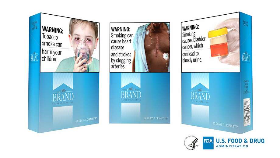 These are among the proposed new large, graphic warnings tjat would appear on all cigarettes. They include images of cancerous tumors, diseased lungs and bloody urine. Photo: U.S. Food And Drug Administration