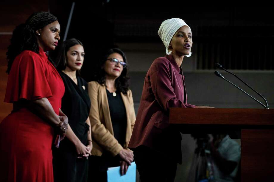 When Reps. Ilhan Omar, D-Minn., (at the lectern) and Rashida Tlaib, D-Mich., (third from the left) say that boycotting Israel is no different from boycotting Nazi Germany, some see that as an insult to the victims of the Nazis. Photo: Anna Moneymaker /New York Times / NYTNS