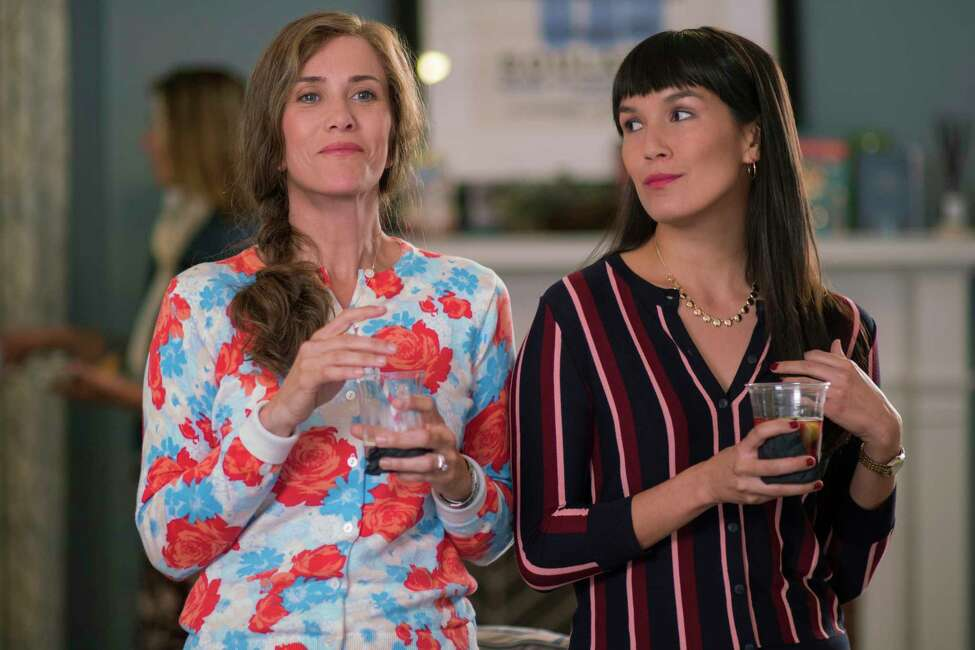 This image provided by Annapurna Pictures shows Kristen Wiig as Audrey and Zoe Chao as Soo-Lin in Richard Linklater's