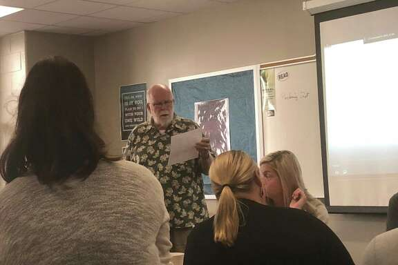 One of three rooms at Hargrave High School were district staff members took part in a Youth Mental Health First Aid training course on Aug. 13