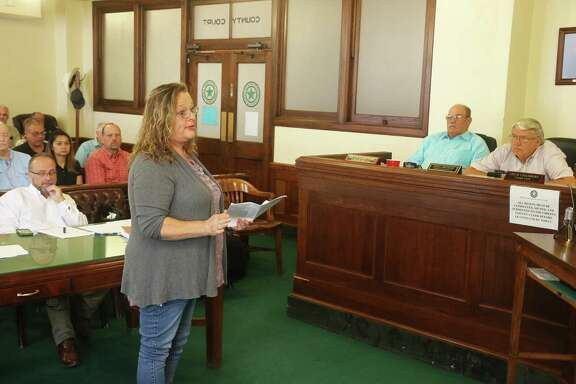 West Woodland Hills resident Theresa Abner addresses commissioners during their meeting on Tuesday asking for their help with more patrols in their neighborhood. Several residents were present at the meeting and spoke during the public comments portion to fight drugs and other crimes in their neighborhood.