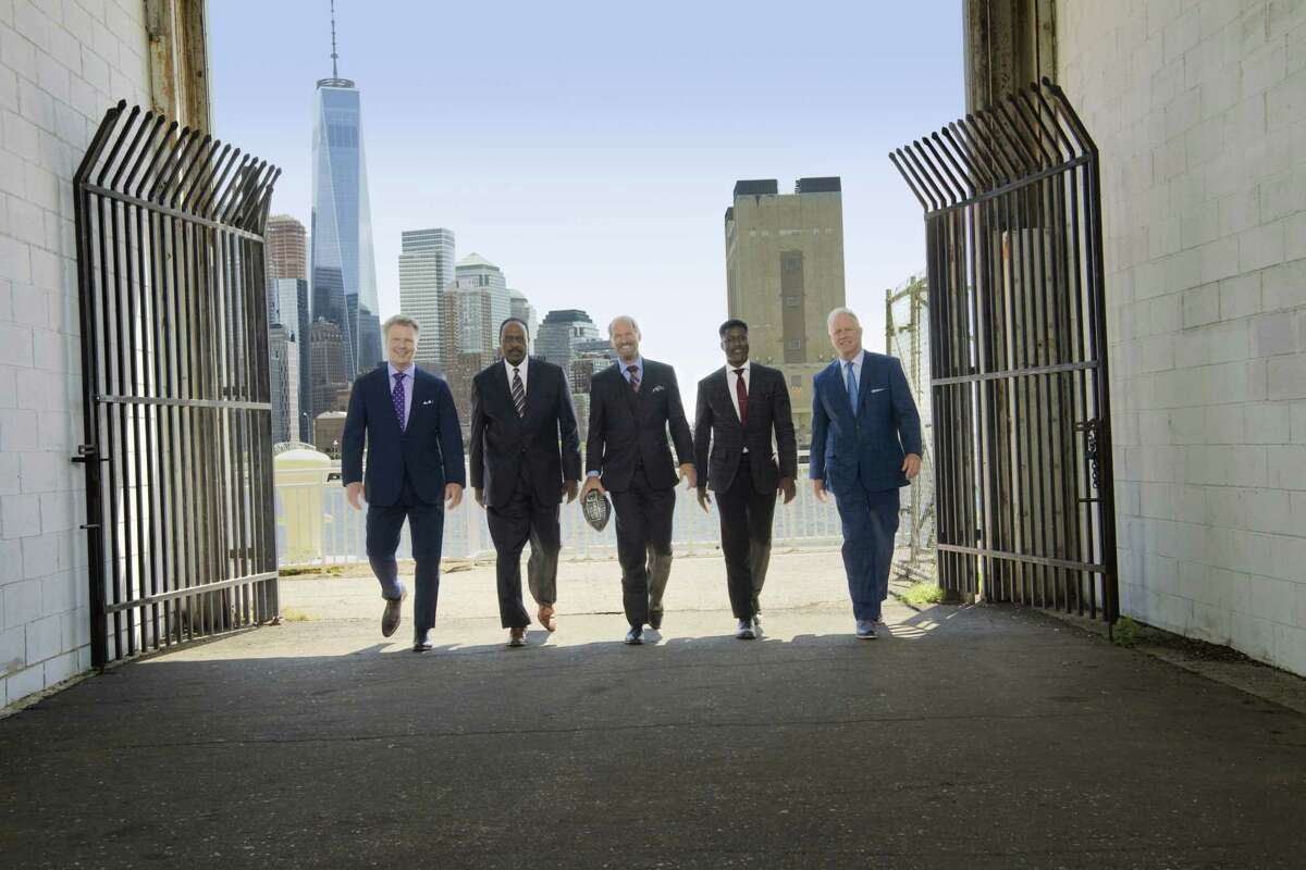 The NFL Today Promo Shoot PICTURED Left: Analyst Phil Simms, Host James Brown, Analysts Bill Cowher, Nate Burleson and Boomer Esiason. Photo CR: John Paul Filo/CBS CBS c.2017 CBS Broadcasting Inc. All Rights Reserved
