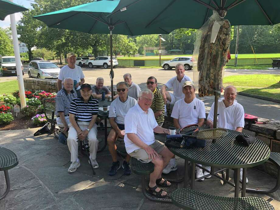 New Canaan Men's Club members enjoy some fellowship and intellectual stimulation after playing tennis. Photo: Contributed Photo / New Canaan Men's Club / New Canaan Advertiser Contributed