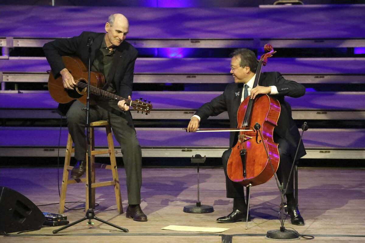 Concert sponsor and artist James Taylor joined Ma for an encore duet of Sweet Baby James at Tanglewood in Lenox, Mass. (photo: Hilary Scott)
