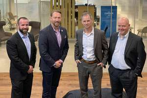 Antelope Water Management has tapped Data Gumbo to provide the first blockchain, smart contract-enabled water business platform. From left to right are Chris Kelley, chief operating officer, Antelope, Fred Tyler, business strategist, Antelope, Dustin Brownlow, chief executive officer, Antelope and Andrew Bruce, chief executive officer, Data Gumbo.