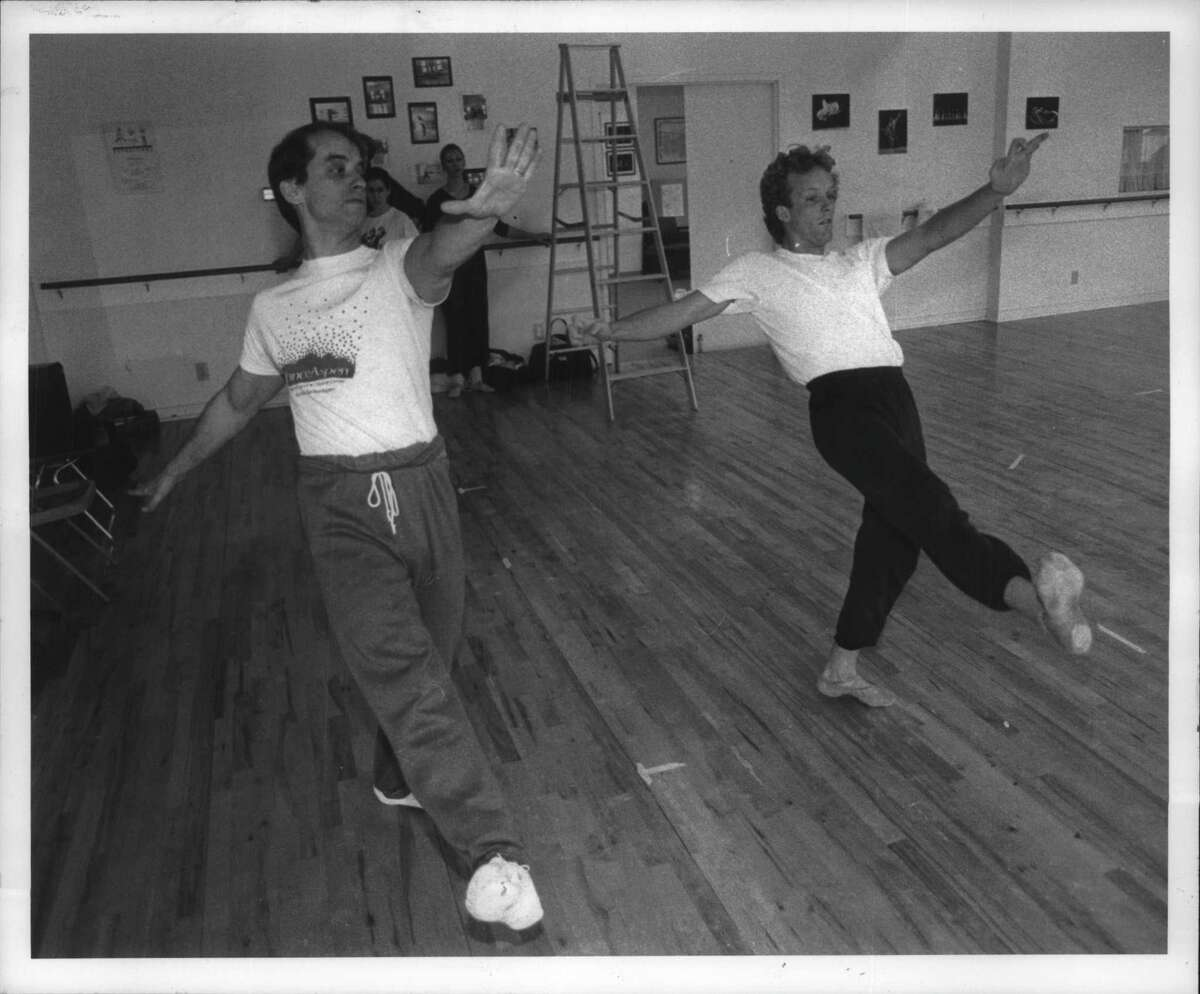 Albany Berkshire Ballet, New York - Choreographer Philip Jerry rehearses with one of the cast members. March 22, 1991 (Skip Dickstein/Times Union Archive)