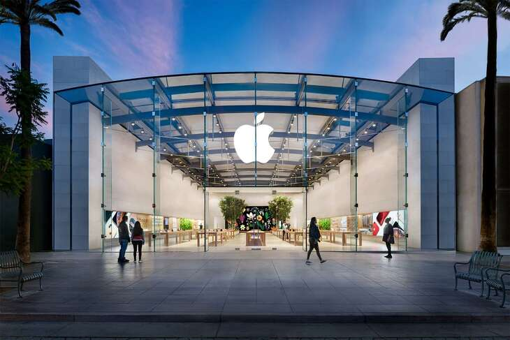 The Third Street Promenade Apple Store inSanta Monica, Calif., has a similar design to Houston's Highland Village Apple Store, which has been closed for remodeling since July 28, 2019. The remodeled Santa Monica store may hold clues as to what the Highland Village store will look like when it is completed.