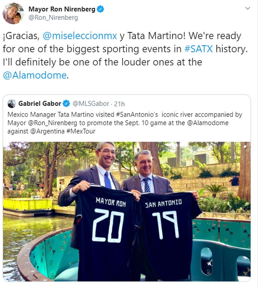 """¡Gracias, @miseleccionmx y Tata Martino! We're ready for one of the biggest sporting events in #SATX history. I'll definitely be one of the louder ones at the 