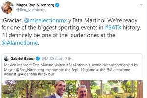"""""""¡Gracias, @miseleccionmx y Tata Martino! We're ready for one of the biggest sporting events in #SATX history. I'll definitely be one of the louder ones at the  @Alamodome,"""" Nirenberg tweeted."""