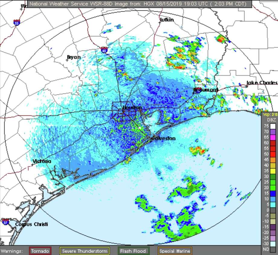 A rash of afternoon thunderstorms could dampen Houston's afternoon rush hour Thursday, Aug. 15, 2019. Photo: National Weather Service