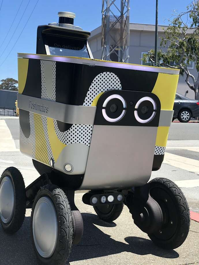 The Postmates robot, called Serve, can carry up to 50 pounds and go up to 30 miles on a single charge, the company said. Photo: Postmates