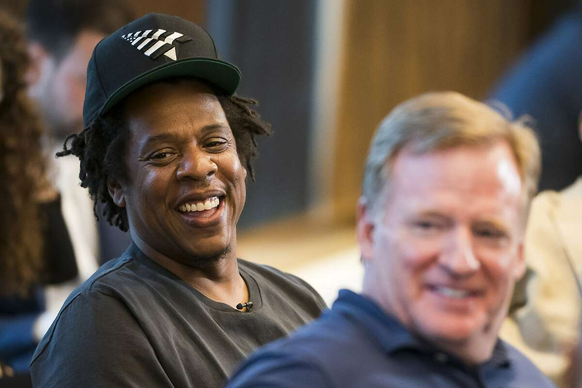 Jay-Z and Commissioner of the NFL Roger Goodell attend a press conference at ROC Nation on Wednesday, Aug. 14, 2019 in New York.
