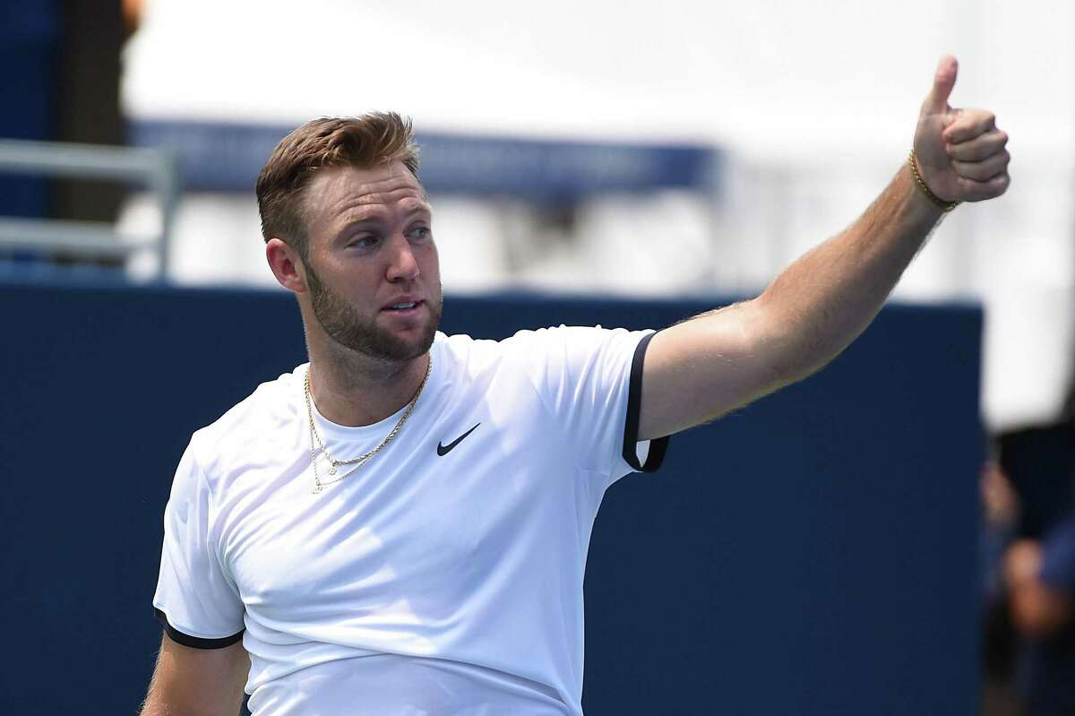 ATLANTA, GEORGIA - JULY 27: Jack Sock reacts after a point against Austin Krajicek and Dominic Inglot of Great Britain during the BB&T Atlanta Open at Atlantic Station on July 27, 2019 in Atlanta, Georgia. (Photo by Logan Riely/Getty Images)