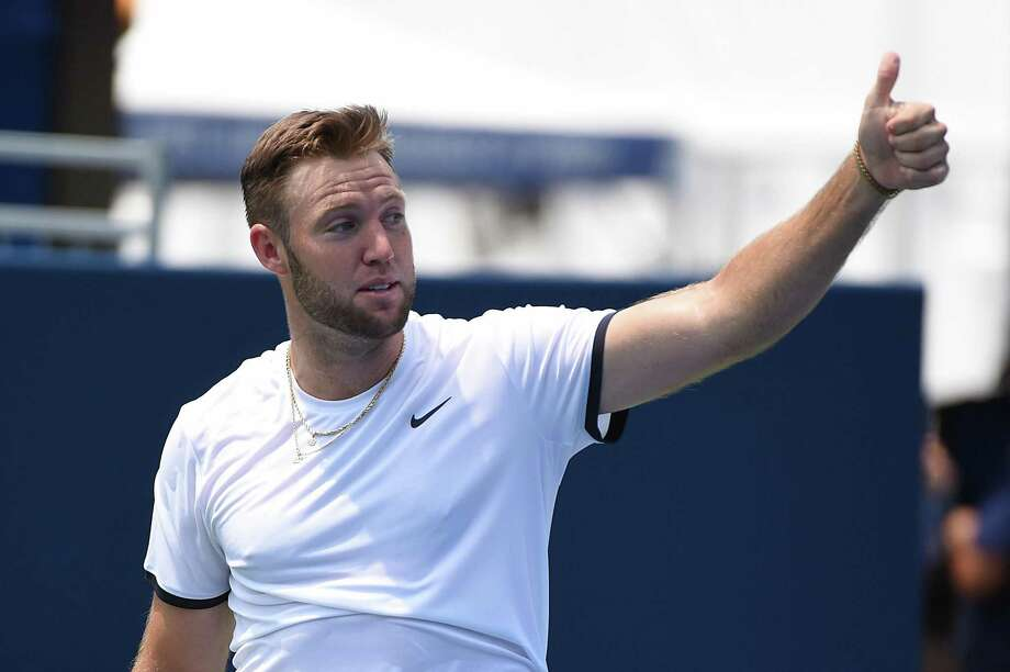 ATLANTA, GEORGIA - JULY 27: Jack Sock reacts after a point against Austin Krajicek and Dominic Inglot of Great Britain during the BB&T Atlanta Open at Atlantic Station on July 27, 2019 in Atlanta, Georgia. (Photo by Logan Riely/Getty Images) Photo: Logan Riely / Getty Images / 2019 Getty Images