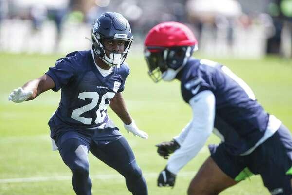 Free safety Ugo Amadi (28) plays defense during the Seahawks training camp, Thursday, Aug. 15, 2019.