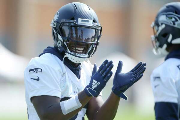 Wide receiver David Moore reacts after running a play during the Seahawks training camp, Thursday, Aug. 15, 2019.