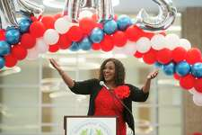 HISD trustee Wanda Adams speaks during a celebration marking Kashmere High School's meeting of state expectations for the first time in 11 years at the school in Houston, Thursday, Aug. 15, 2019. Thursday the TEA released the state's latest school accountability ratings.
